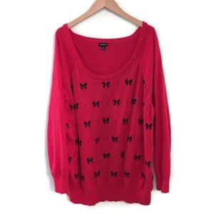 TORRID Red bow print pullover sweater